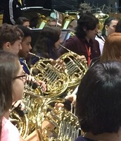 Gwen Polles creating sweet sounds on the French Horn.