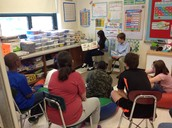 Reading to students in Ms. Montegary's class