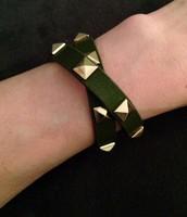 Leather Studded Wrap bracelet - Oilve leather