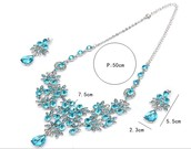 Crystal Flower Necklace Earrings Set