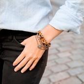 Tortoise + Chain Multi Strand Bracelet $48