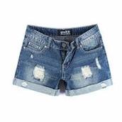 moda pantalones cortos de jean azul