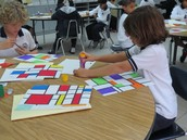 Student Mondrian color study with oil pastels