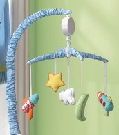 A space mobile above an infant's crib