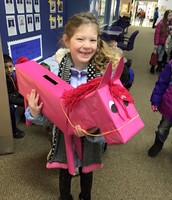 Peyton w/ her Valentine's box! It's as big as she is.