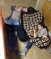 Asleep on the kitchen floor...