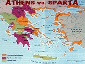 The map shows which parts of Greece each city state invaded.