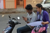 Students gathering data from ground