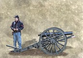 A Union Soldier standing next too an Infantry Cannon