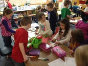 Kindergarten and 2nd Grade Students Making Wild Things