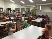 Class listening to library instruction