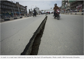 A crack in the road (near Kathmandu)