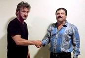Sean Penn actor and director, greeting drug King pin El Chopo