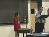 Ethan Law with Mr. Eick at the Spelling Bee