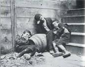 Boys sitting outside their tenement apartment