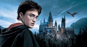 Harry Potter and Hogwarts in the back ground