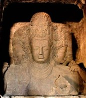 One of the sculptures in the Elephanta caves