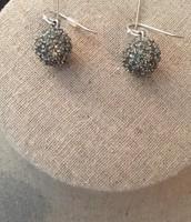 Silver/Rhinestones Ball Drop Earrings