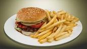 la hamburguesa con las papas fritas