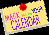 Mark Your Calendars -