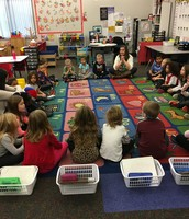 KB Morning Meeting- Ms. Baids and Ms. Moreland take turns sharing their Weekend News and listening to their Kinder friends share, too!