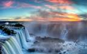 The Beauty of a Sunset in the Iguazu Fall