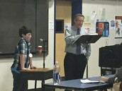 Justin Carter with Mr. Eick at the  Spelling Bee