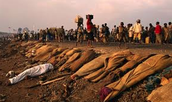 Image of towns of dead bodies from the genocide attack