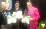 Glenda Fortune receiving her SLANZA Life Membership. With and Jan