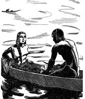 Kino and Juana in the canoe