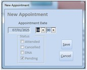 Completeing the New Appointment window