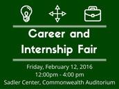 Spring Career Fair- February 12, 2016 - 12:00 pm - 4:00 pm at Sadler Center, Tidewater A&B