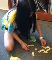 Miya is a STAR at bananagrams!