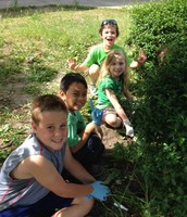 Weeding with 3rd Grade Buddies