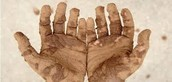 dirt and germs on hands