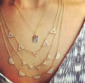 Pave Chevron layered with Soho initial charm
