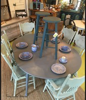 Gray Drop Leaf Dining Table with Extension Leaves: $425