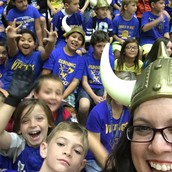 Mrs. Simons showing her Viking Spirit with 3rd Grade