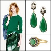 Liz Drop Earrings & Ring (size 7)