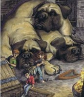 Harry and his friends trying to sneak past the dogs.