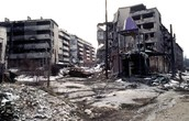 DESTROYED BUILDINGS IN THE BOSNIAN WAR.