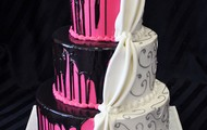 Hot Pink & White Sweet 16 Birthday Cake