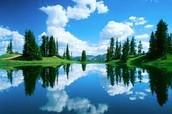 Lake under the blue sky