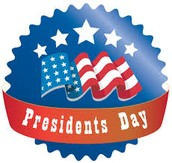 Monday, Feb 15, Presidents Day, No School