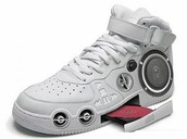 our shop sells the only shoes with speakers and spinners