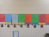 Third grade hallway display with each student's picutre and the ring that will be added for each book they read