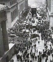 People gathering in NYC after the stock market crash.