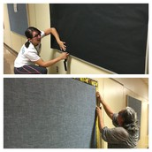 New Pillow bulletin boards are hung up & teachers are already decorating w/ student work!