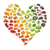 healthy foods in a heart.