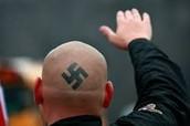 Neo-Nazi man heiling Hitler
